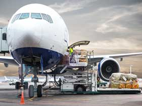 Air freight shipment being loaded-International Air Freight Import and Export
