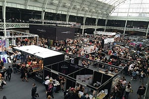 People attending a trade show